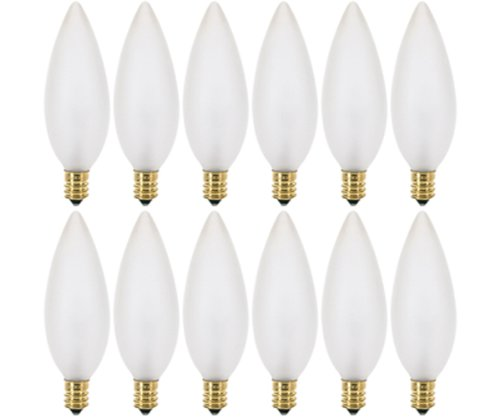 - (Pack of 12) 25 Watt Frosted Candelabra Base (E12) Torpedo Tip 120V Chandelier Bulbs