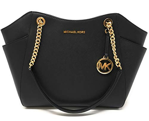 Michael Kors Jet Set Travel Large Chain Shoulder Tote (Black Saffiano 2019)
