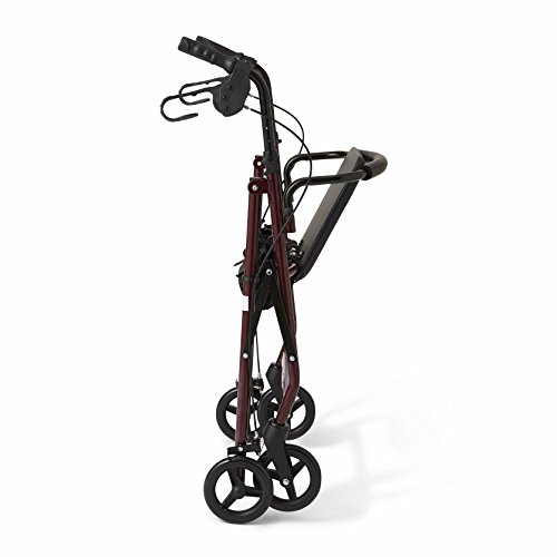 """Medline Steel Foldable Adult Rollator Mobility Walker with 6"""" Wheels, Burgundy by Medline (Image #1)"""