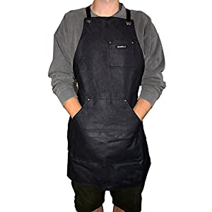 Heavy Duty Waxed Canvas Work Apron in Black by Bizarre.ly - Water Resistant - Adjustable up to XXL - Perfect for the Home or Workshop - Pockets to Hold Tools & Mobile Phone - Suitable for Men / Women