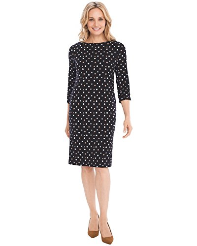 Chico's Women's Dot Ruched-Sleeve Dress Size 4/6 S (0) Black/White from Chico's
