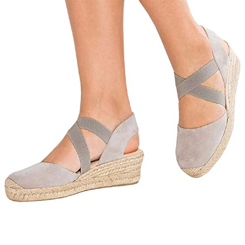 (FISACE Womens Strappy Slingback Espadrilles Platform Mid Wedge Sandal Cap Toe Elastic Band Criss Cross Summer Shoes (7 M US, Taupe))