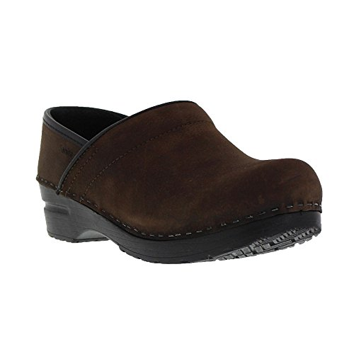 Sanita Women's Professional Oil Closed Brown Leather Clog - 7.5-8 B(M) - Brown Oil Leather