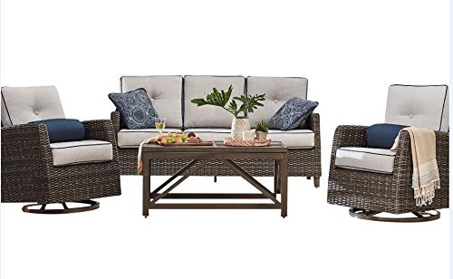 Agio Outdoor Patio Handwoven All-Weather Wicker 4pc Seating Set w/Sunbrella Cushions