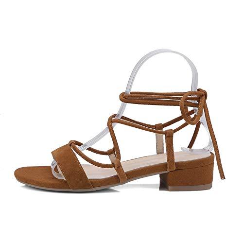 Women Sandals Square Mid Heel Casual Women Shoes Platform Kid Suede,Brown,9