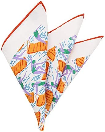 (ザ・スーツカンパニー) MADE IN ENGLAND/シルクポケットチーフ ホワイト×オレンジ×パープル/マリンプリント