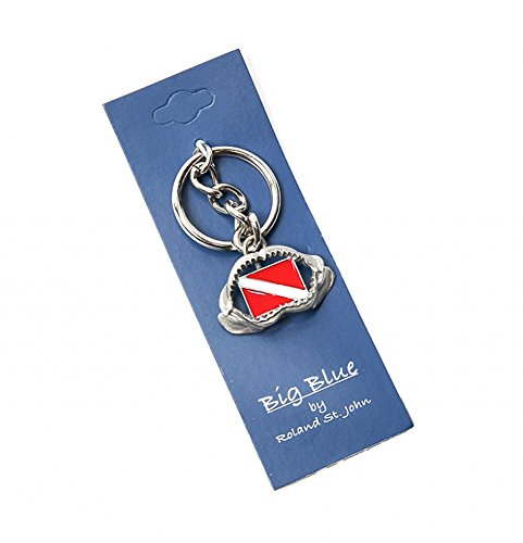 Quality Realistic Life-like Key Chain Shark teeth jaws (Shark Jaw with Dive Flag)