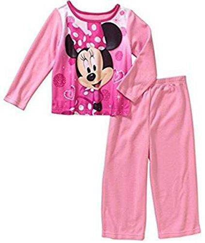 [Disney Minnie Mouse Girls 2 Piece Sleepwear Pink Pajama Pant Set (12 Months)] (Angel Pajama Infant & Toddler Costumes)