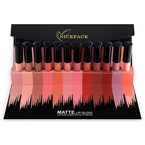 Matte Nude Lipstick Set, NICEFACE 12 Colors Waterproof Long Lasting Lip Gloss Non-Stick Cup Liquid Lipstick�