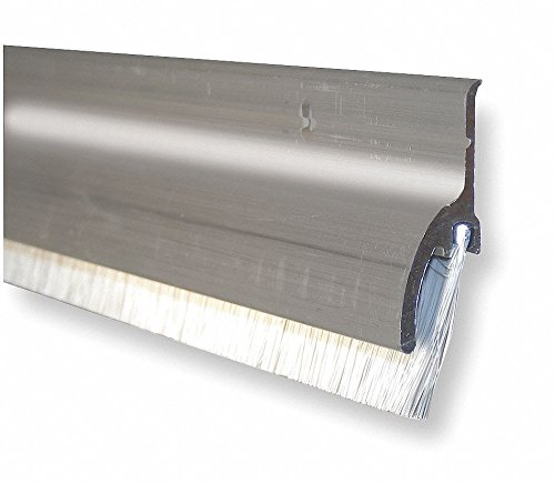 Brush Door Sweep, Aluminum, 4 ft. Length, 1-1/2'' Flange Height, 7/16'' Insert Size by Pemko