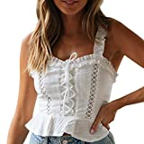 2019 Fashion Women Summer Ruffles Tanks Tops Beach Holiday Vest Blouses Casual Sexy Tank Tops (White, S)