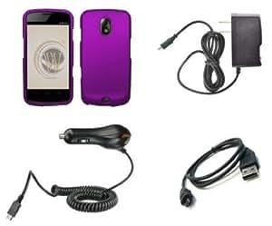 Quaroth Samsung Galaxy Nexus (Verizon) Premium Combo Pack - Purple Rubberized Shield Hard Case Cover + ATOM LED Keychain...