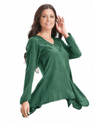 HolyClothing Gabriella Boho Chic V-Neck Asymmetrical Hem Embroidered Tunic Top