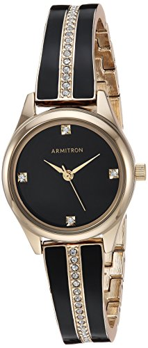 (Armitron Women's 75/5208BKGPBK Swarovski Crystal Accented Gold-Tone and Black Bangle Watch)