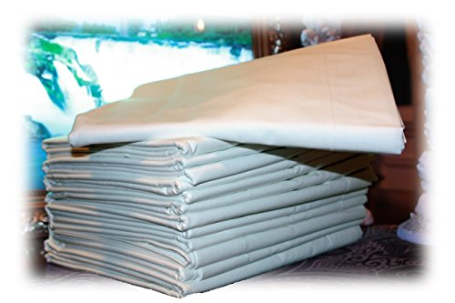 96-Pc (8 Dozen) FULL Size Bed Sheets, 81x104, White, Professional Grade, Cotton Blended. These Sheets Are Preferred by Hospitality Industry, Percale 180 Thread Count - by Atlas by Atlas
