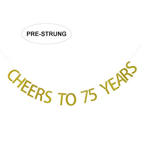 Gold Glitter Cheers to 75 Years Banner - 75th Birthday Party Decorations Celebration Ideas - NO Assembly -