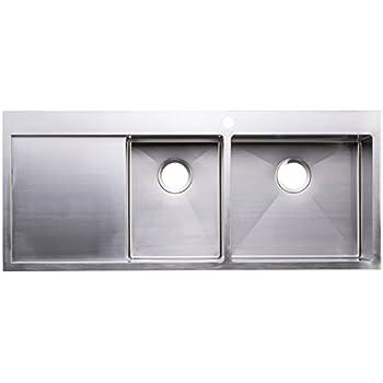 bai 1234   48   handmade stainless steel kitchen sink double bowl with drainboard top mount bai 1234   48   handmade stainless steel kitchen sink double bowl      rh   amazon com