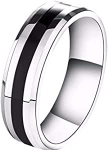 A titanium men's ring decorated with a black line