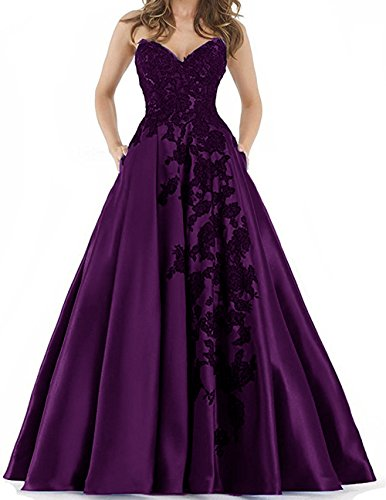 Women's Prom Party Long Dress Lace Appliques Satin Evening Party Ball Corset Gowns with Pocket Grape Purple - Corset Long Gown