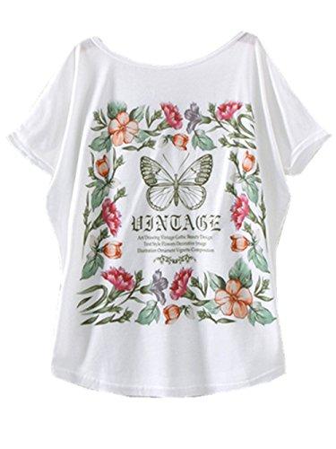 Yichun Femmes Filles Minces Tops Été T-shirt Des Manches Batwing Imprimé Papillon Casual Wear 8 #