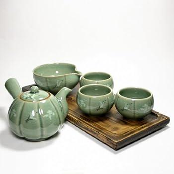 Korean Celadon Tea Set / Teapot, 3 Cups, Sookwoo / pumpkin