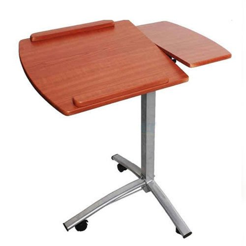 Wood, Steel , Angle & Height Adjustable Rolling Laptop Desk Cart Over Bed Hospital Table Stand by Desks & Home Office Furniture