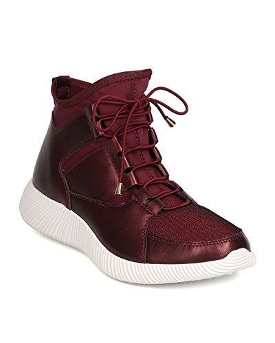 Qupid GK58 Women Leatherette Thick Sole Elastic Lace Up High Top Sneaker – Burgundy (Size: 7.0)