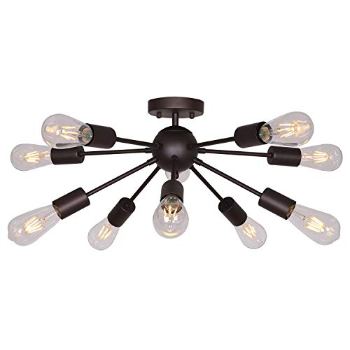BONLICHT Mid Century Modern Chandelier 10-Light Semi Flush Mount Ceiling Light Oil-Rubbed Bronze Sputnik Chandelier Industrial Vintage Starburst Lighting for Living Room Dining Room Kitchen Bedroom