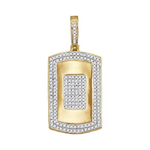 Roy Rose Jewelry 10K Yellow Gold Mens Round Diamond Framed Dog Tag Cluster Charm Pendant 1/2 Carat tw - 082 Diamond