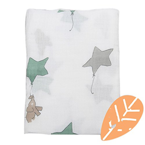 Newborn Blankets Muslin Swaddle Cotton Baby Boy Girl Sleeping Bath Warm Wrap(Kite&Elephant) (Kite Elephant)