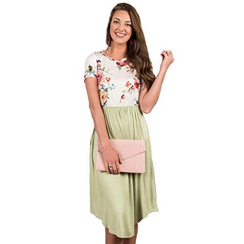 P&A Fashion Women Short Sleeve Floral Dress Casual Summer Pleated Tunic Dress with Pockets (Greyish-Green, Medium)