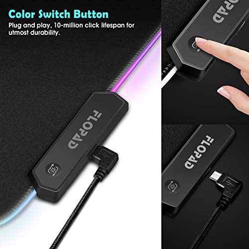 Large RGB Gaming Mouse Pad - 10 Light Modes Extended Computer Keyboard Mat with Durable Stitched Edges and Non-Slip Rubber Base, High-Performance Mouse Pad Optimized for Gamer 31.5X 11.8in Photo #2