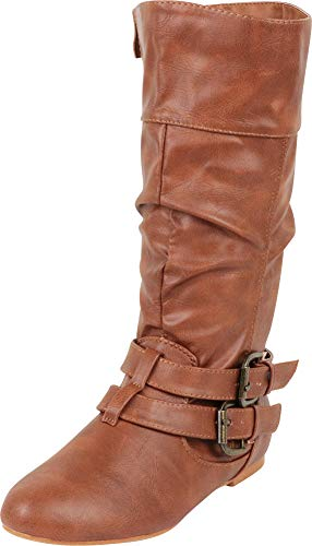 Cambridge Select Women's Wraparound Strappy Buckle Slouch Flat Mid-Calf Boot,6.5 M US,Tan Pu