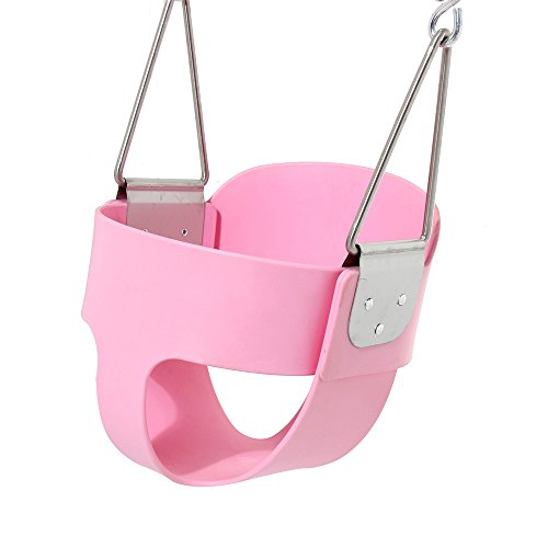 Pink Swing Seat - Toddler High Back Full Bucket Swing - with Plastisol Coated Chains - Swing Set Accessories (Plastisol Coated Chain)