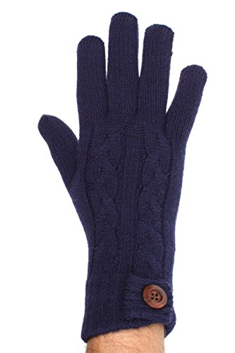 (LL Adults Navy Classic Cable Winter Knit Gloves Wood Button Accent)