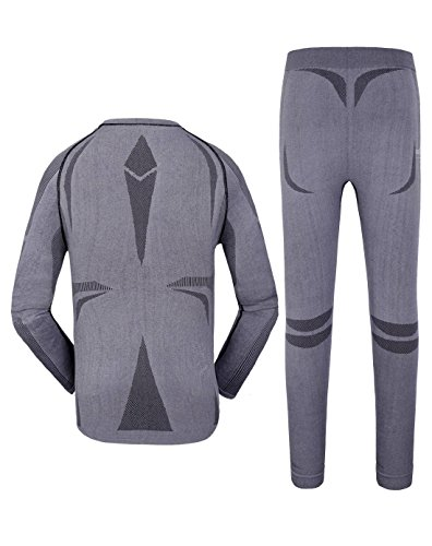 Makino Coolmax Men's Quick Dry Thermal underwear Top and Bottom Set 9023-1 Dark GrayL