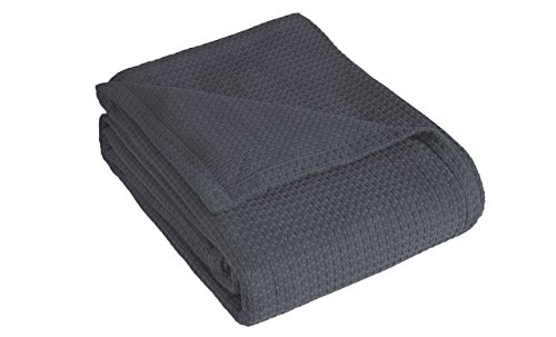 Elite Home Products Grand Hotel Cotton Blanket, Twin, Dark Gray