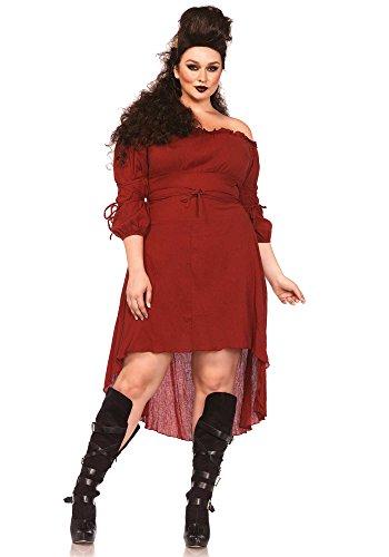 Leg Avenue Women's Plus-Size Plus High Low Peasant Dress Costume, Rust, 3X/4X (2)