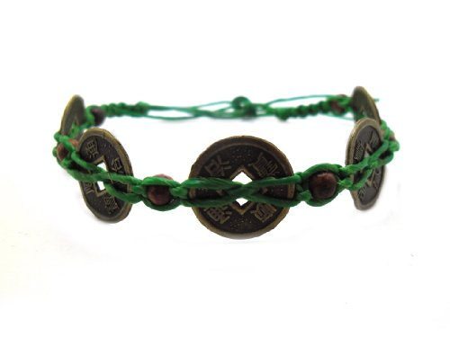 Hemp Hippie Cord (Asian Vintage Handmade Art Thai Beautiful Green Color Wax cord Coins Wristband Bracelet from Thailand)