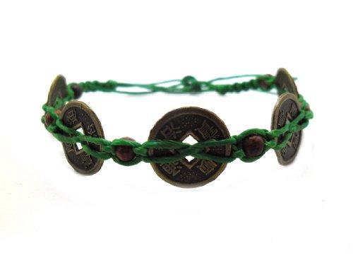 Hemp Cord Hippie (Asian Vintage Handmade Art Thai Beautiful Green Color Wax cord Coins Wristband Bracelet from Thailand)