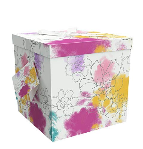 (EndlessArtUS Gift Box 9x9x9 Carmen Pop up in Seconds Comes with Decorative Ribbon Mounted on The lid A Gift Tag and Tissue Paper - No Glue or Tape Required)