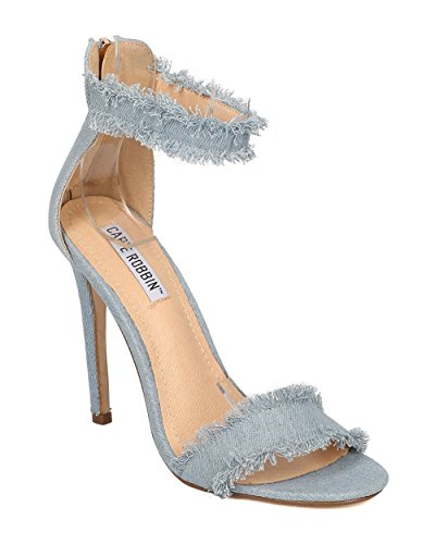 Cape Robbin Dames Denim Enkelband Stiletto Hak - Chic, Trendy, Minimalistisch - Open Teen Stiletto Sandaal - Gg07 Blauw