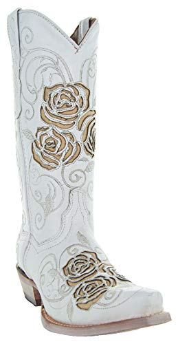 Soto Boots Turquoise Rose Country Cowgirl Boots M50032 (White,5.5)