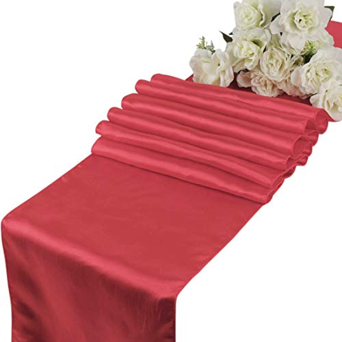 mds Pack of 10 Wedding 12 x 108 inch Satin Table Runner for Wedding Banquet Decoration- Coral ()