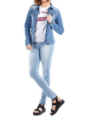 Style Western Slim Tissu Taille Wash Extensible Manche Stone Carrera Jeans Bleu 451 Lavage super Blouson 575 Femme Longue Pour Clair xFqgYX