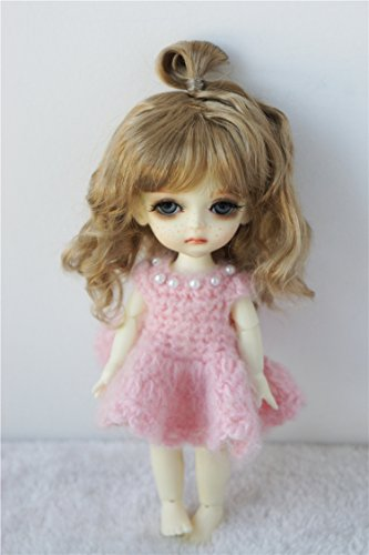 Light Mohair Brown (JD375 5-6inch 13-15CM Updo Synthetic Mohair BJD Wigs 1/8 Lati Yellow Doll Hair and Accessories (Light Brown))