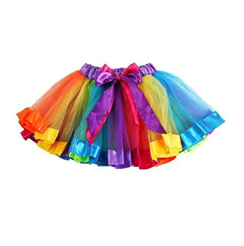 Vovotrade Girls Petticoat Rainbow Pettiskirt Bowknot Skirt Tutu Dress Dancewear (L, Multicolor)