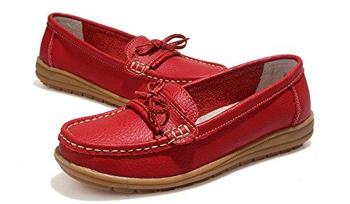 Onnozele Dames Die Instappers Aandrijven Slippen Zachtloopschoenen Aan Mocassins Anti-slip Bootschoenen Rood