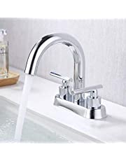 KES Bathroom Sink Faucet Modern 3 Hole 4 Inches Centerset Vanity Faucet Two Handles Lead Free Brass, L4117LF-P
