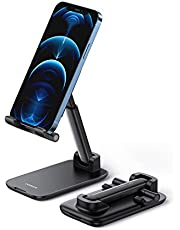UGREEN Phone Stand Cell Phone Holder for Desk Adjustable Foldable Compatible with iPhone 12 Pro Max iPhone 11 XS XR X SE 8 Plus 6 7 Samsung Galaxy Note20 S20 S10 S9 S8 Mobile Phone, Black